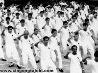 Professor Yek (front left) learning the tai chi 37 form in Sibu, c1963